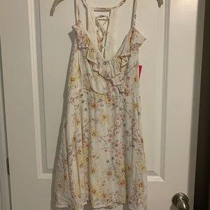 NWT Xhileration floral mini dress w/ cross back